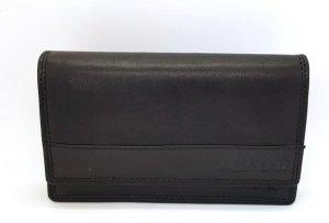 Portemonnee Dames Leer Zwart - Echt Leer - 3 vakken Briefgeld - Overslagportemonnee