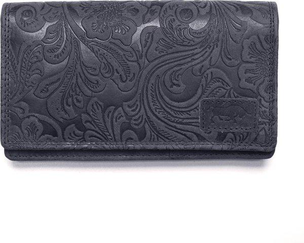 Portemonnee Donkerblauw Leer Dames Met Bloemenprint RFID - Donkerblauw Lederen Dames Portemonnee Anti-Skim