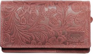 Portemonnee Rood Leer Dames Met Bloemenprint RFID - Rood Lederen Dames Portemonnee Anti-Skim