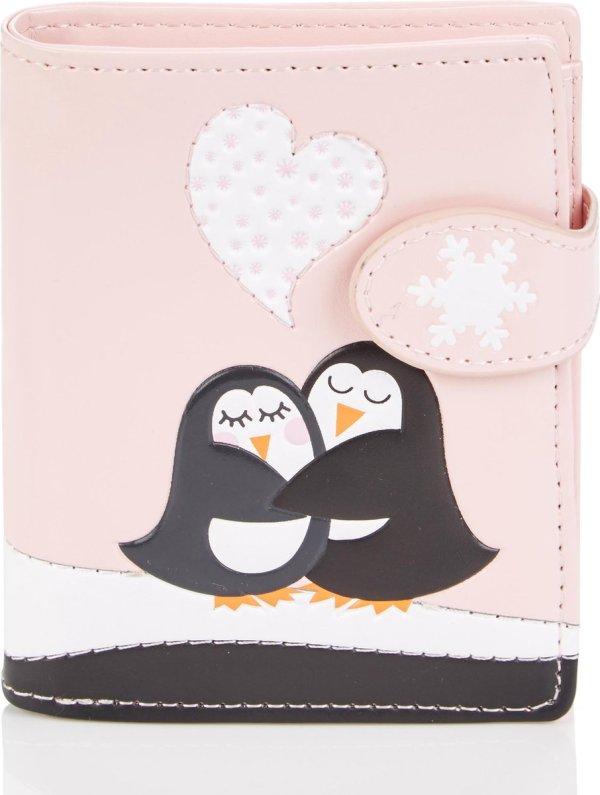 Shagwear Portemonnee - Compact Beugelportemonnee - Dames - Kunstleer - Penguins Love (0444sm)
