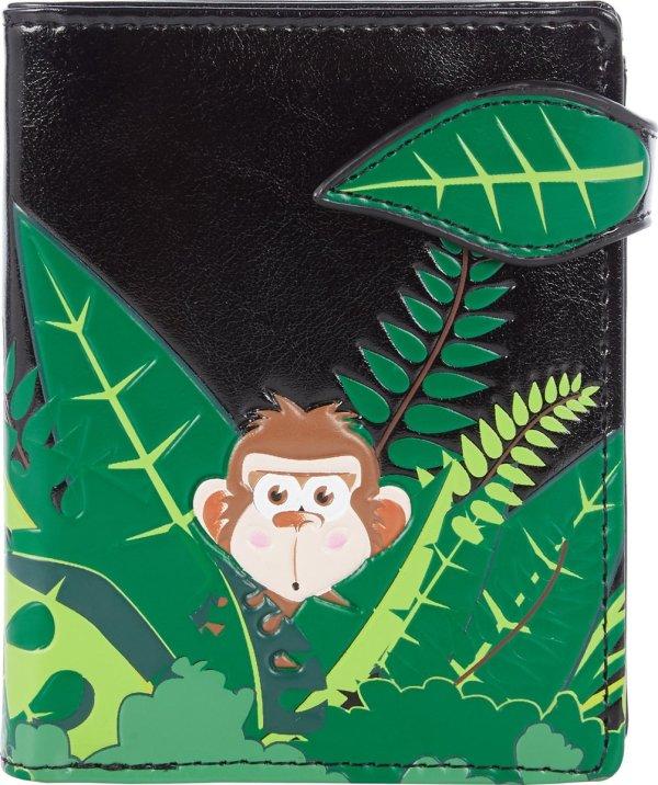 Shagwear Portemonnee - Compact Beugelportemonnee - Dames - Kunstleer - Swinging Monkey (0702sm)