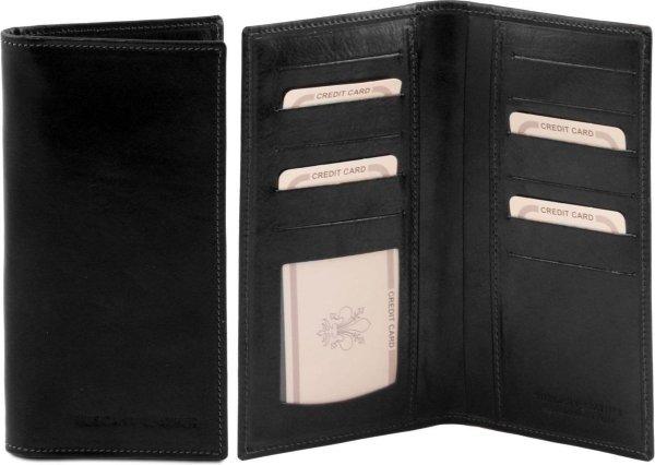 Tuscany Leather Exclusieve 2 fold leren portemonnee verticaal - Zwart - TL140784