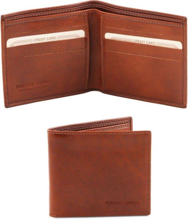 Tuscany Leather Exclusieve 2 fold leren portemonnee voor mannen - Bruin - TL140797