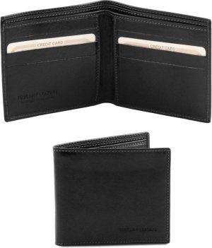 Tuscany Leather Exclusieve 2 fold leren portemonnee voor mannen - Zwart - TL140797