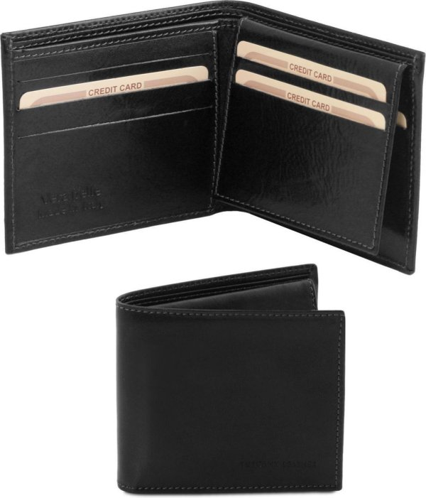 Tuscany Leather Exclusieve 3 fold leren portemonnee voor mannen - Zwart - TL141353