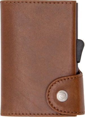 Vegetable Tanned Wallet C-secure, ruimte voor 7 passen en Briefgeld, Luxe portemonnee met aluminium cardprotector, RFID beveiliging, 100% vegetarisch leer (Donkerbruin)