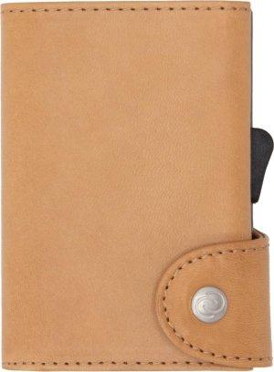 Vegetable Tanned Wallet C-secure, ruimte voor 7 passen en Briefgeld, Luxe portemonnee met aluminium cardprotector, RFID beveiliging, 100% vegetarisch leer (Lichtbruin)
