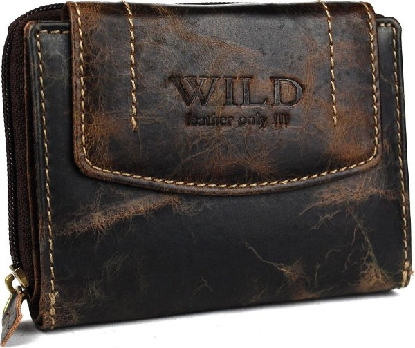 Wild leather Only !!! Dames Billfold Donkerbruin