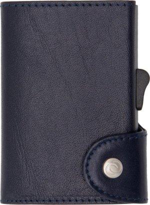 XL Vegetable Tanned Wallet C-secure, ruimte voor 8 tot 12 passen, Ruimte voor Briefgeld en Muntgeld, met Aluminium Pasjeshouder, RFID beveiliging (Donkerbruin)