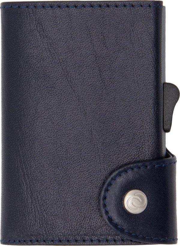XL Vegetable Tanned Wallet C-secure, ruimte voor 8 tot 12 passen en Briefgeld, Luxe portemonnee met aluminium cardprotector, RFID beveiliging, 100% vegetarisch leer (Donkerblauw)