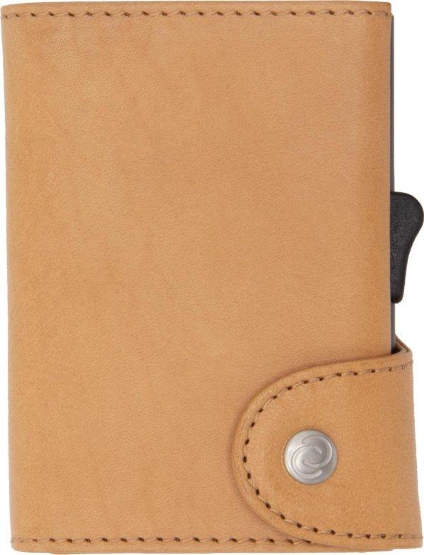 XL Vegetable Tanned Wallet C-secure, ruimte voor 8 tot 12 passen en Briefgeld, Luxe portemonnee met aluminium cardprotector, RFID beveiliging, 100% vegetarisch leer (Lichtbruin)