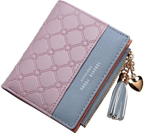 ZILOU® Compacte Portemonnee - Mini Wallet - Portefeuille - Dames - Kunstleer - Paars