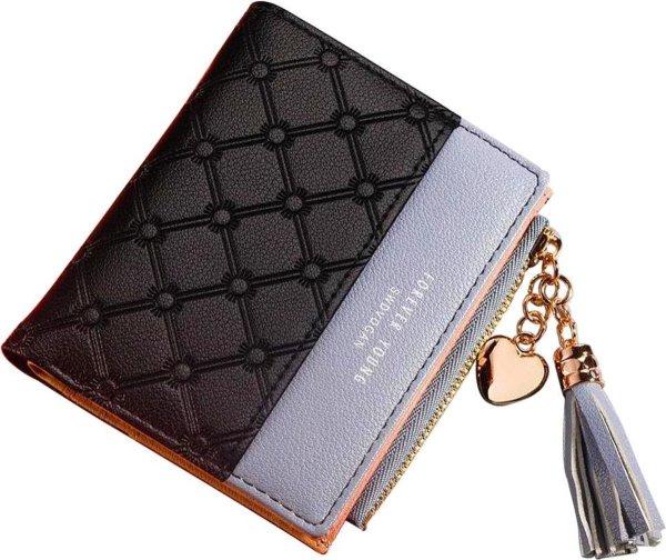 ZILOU® Compacte Portemonnee - Mini Wallet - Portefeuille - Dames - Kunstleer - Zwart