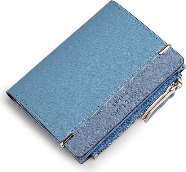 ZILOU® Compacte portemonnee Dames Ritsportemonnee Blauw
