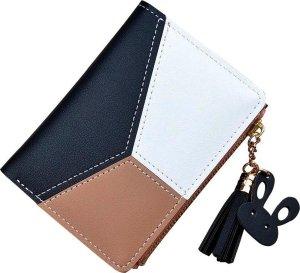 ZILOU® Dames Portemonnee Compact - Mini Wallet Portefeuille - Kunstleer - Patchwork - Zwart