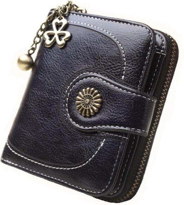ZILOU® Portemonnee Compact Leer Zwart
