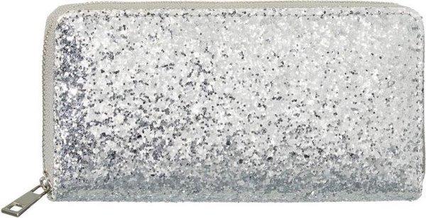 Zilveren glitter portemonnee voor dames 19 cm - Portemonnees/portefeuilles