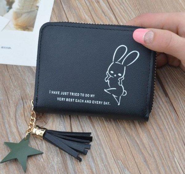 Zwart portemonnee met grappig konijntje