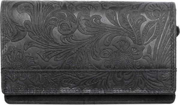 Zwarte Dames Portemonnee Leer - Met Bloemenprint En Extra Ruim Vak Voor Muntgeld