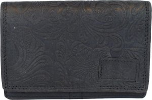 Zwarte RFID Dames Portemonnee Leer Met Bloemenprint - Kleine Lederen Portemonnee