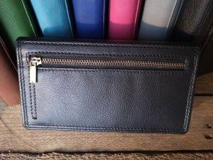 Dames Portemonnee - Huishoud - Harmonica overslag model - Echt Leer Zwart - RFID- Antiskim - Lederen portemonnee