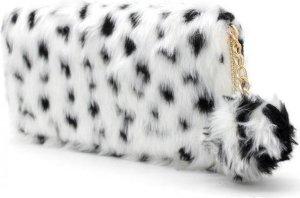 Portemonnee Portefeuille Clutch Dames - Fluffy luipaard print zwart/wit - 19 x 10 CM - Met Rits