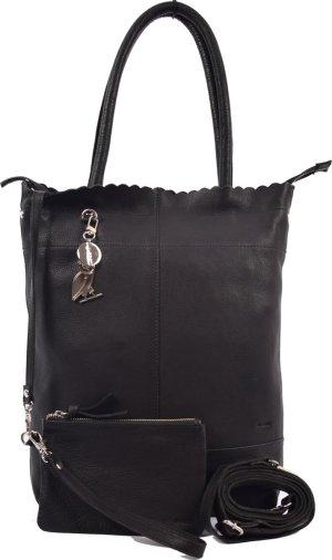 Shopper met sleutelhanger en natuurlijk met GRATIS portemonnee, Leren Shopper Haifa 4east zwart