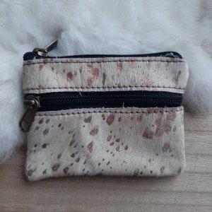 Yoonz - portemonnee glitter vlekjes - 12 x 9 cm - 2 ritsen - echt leer