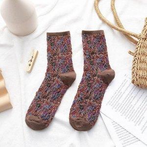 Dames Sokken- 1 Paar - Bruin - Maat 36-41 - Vintage - Fleurige Bloemen - Comfortabel & Duurzaam