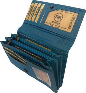 THL Design - Portemonnee Dames - Huishoud - Harmonica overslag model - Echt Leer Turquoise