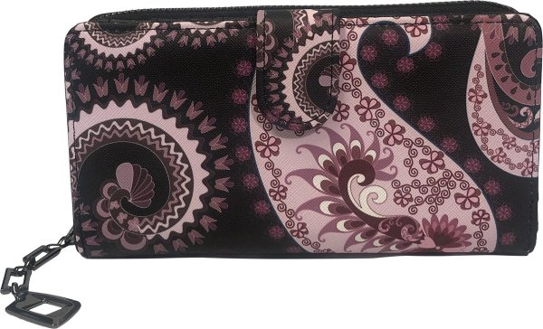 THL Design - Portemonnee Dames - Ritsportemonnee - Grote Dames Portemonnee - Bloemenprint - Zwart / Roze Multicolour