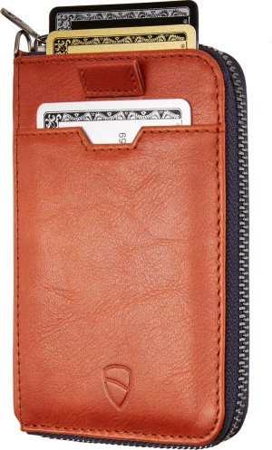 Vaultskin - Notting Hill - slim leather RFID blocking zipper wallet - unisex - cognac