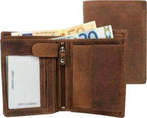 Houtkamp Leren Vintage Portemonnee uit echt Leder - Dames & Heren - Billfold Hunter Leer - RFID anti-skim beveiliging - Hoog model - Bruin
