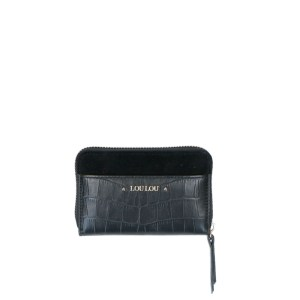 LouLou Essentiels Classy Croc Gold Wallet Small I Black