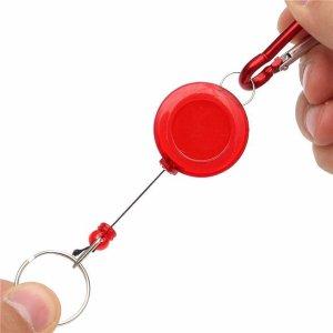 Rode Uittrekbare sleutelhanger / pasjeshouder met karabijnhaak