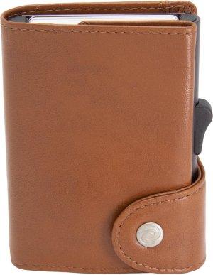 XL Leren Pasjeshouder C-secure, Ruimte voor 8 tot 12 passen, Luxe heren portemonnee met aluminium cardprotector, RFID beveiliging, Uitschuifbare Smart Wallet voor mannen en vrouwen (kastanje bruin)