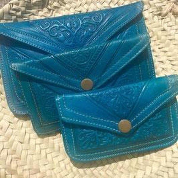 Dames Boho Portemonnee Leer - Blauw maat L