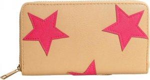 Multifunctionele portemonnee van glad beige kunstleer met rondom roze sterren. Wordt afgesloten met een rits rondom. Voor uzelf of Bestel Een Kado