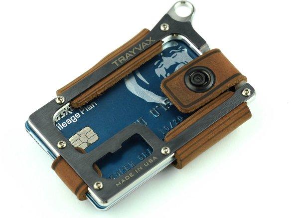 Trayvax Contour - Raw Tobacco Brown - Pasjeshouder - Creditcardhouder - RFID - Leer/Metaal