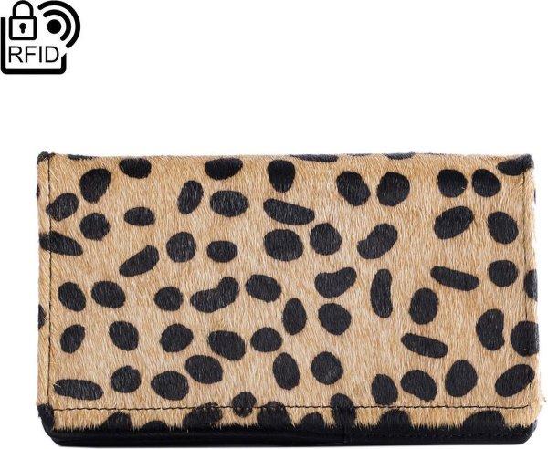 Dames Portemonnee Leer Zwart Met Dierenprint RFID - Anti-Skim Dames Portemonnee Zwart