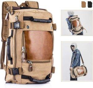 EV® rugzak voor heren | wandelrugzak, reisrugzak, laptoprugzak | 14,1 inch / 15,6 inch | kaki/bruin