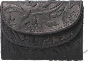 Leather Design Compacte Portemonnee Flower Navy Blauw