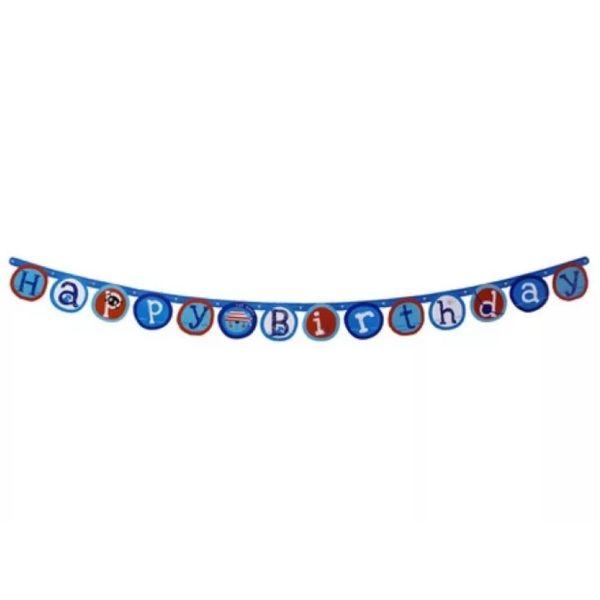Eddy Toys happy birthday slinger Piraat jongens blauw 175 cm