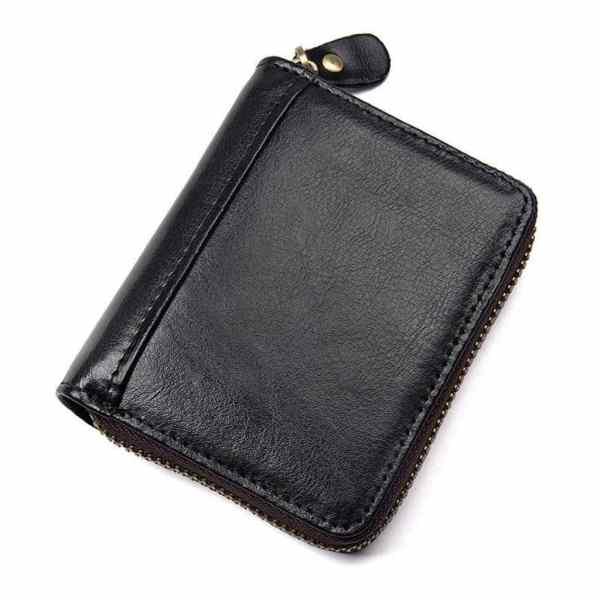RFID-kaarthouder / portemonnee in echt leer - zwart