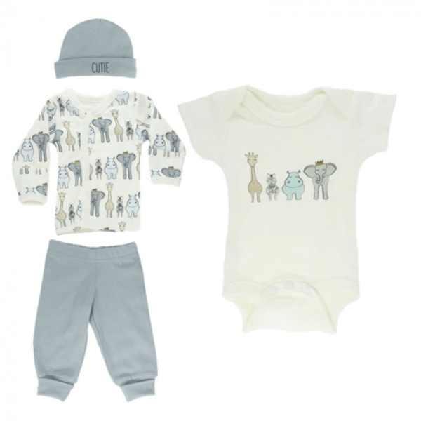 babykleding Safari set 4-delig jongens wit/blauw