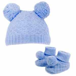babymuts en sokjes PomPom jongens polyester blauw