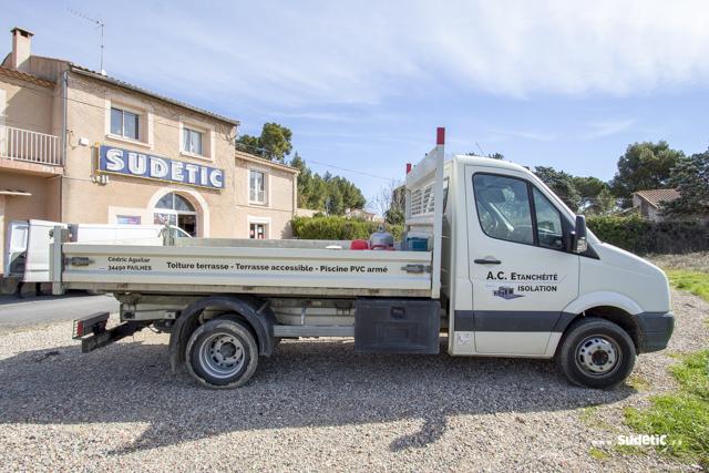 Déco camion plateau AC Etanchéité par SUDETIC