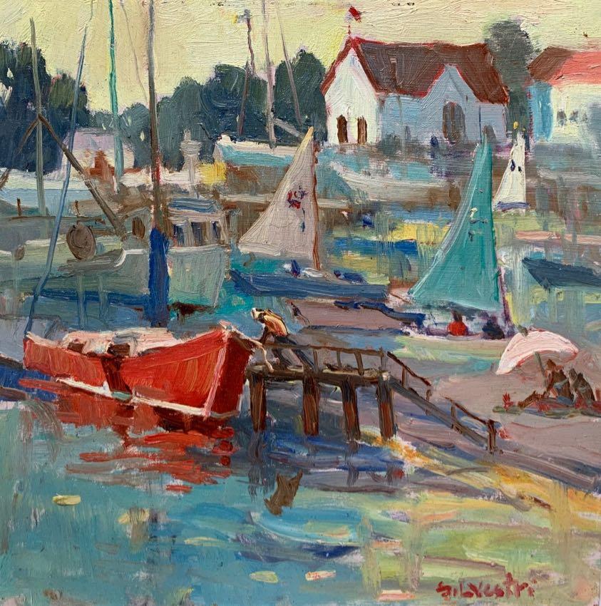 Red Sail Out Silvio Silvestri 12x12 oil