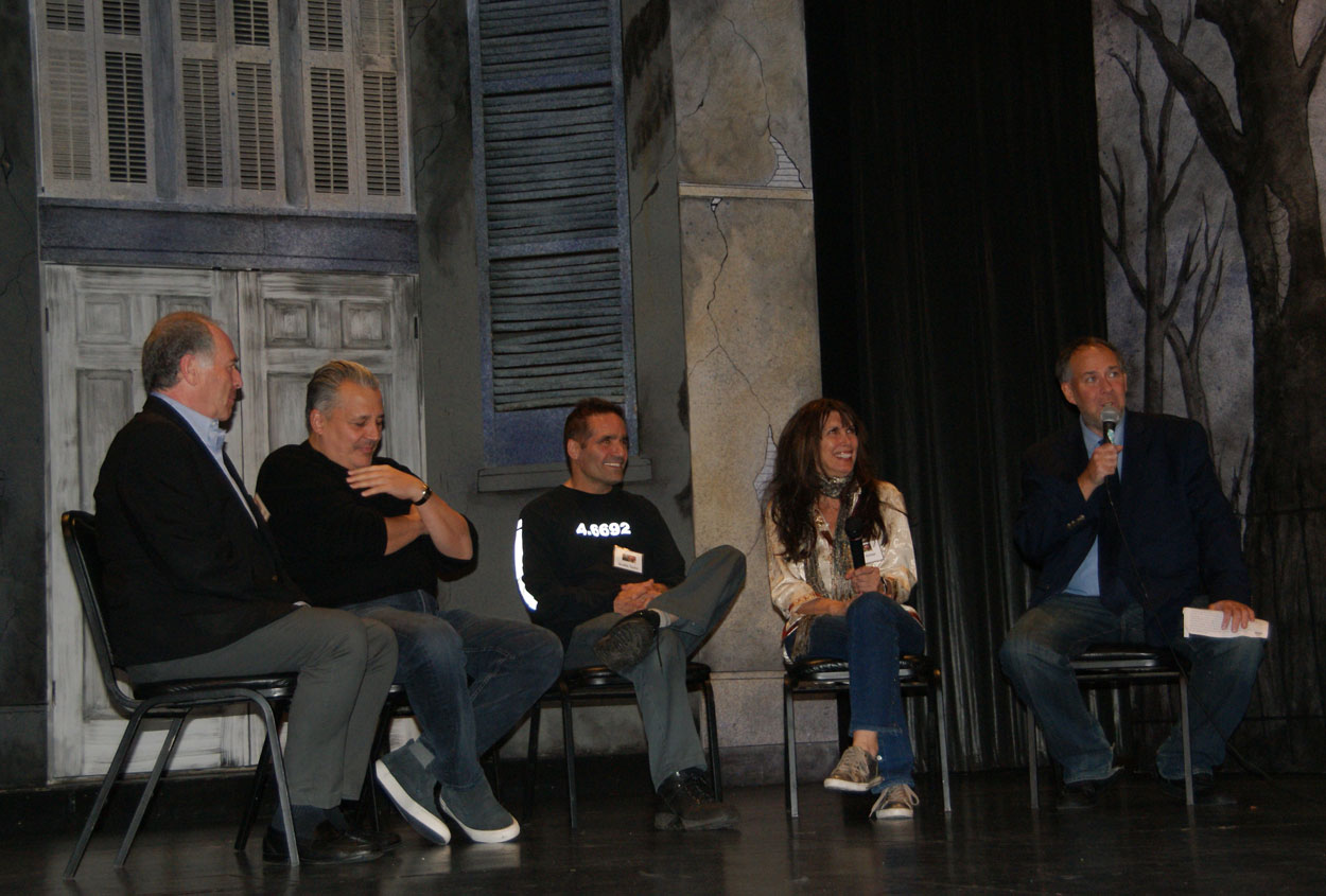 (From Left to Right) Chuck Garelick, Head of Security; Gerard Renny, VIP Doorman, Scottie Taylor, Bartender; Myra Scheer, Executive Assistant and Tom Needham, Host of WUSB's The Sounds of Film, Moderator, for STUDIO 54