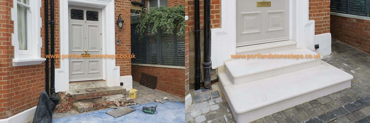 Before and after Portland Stone Steps London